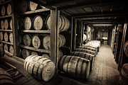 Sepia Prints - Bourbon Barrels Print by Karen Zucal Varnas