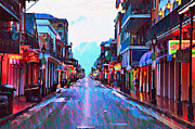 Mardi Gras Digital Art Framed Prints - Bourbon Street at Dawn Framed Print by Bill Cannon