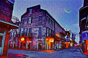 Mango Posters - Bourbon Street - Crescent Moon over the Crescent City Poster by Bill Cannon