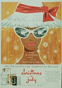 Fragrances Art - Bourjois 1950s Uk Sunglasses Hats by The Advertising Archives
