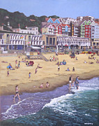 Sunbathing Paintings - Bournemouth boscombe beach sea front by Martin Davey