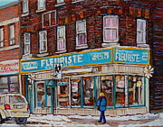 Streetscenes Paintings - Boutique Fleuriste Coin Vert Montreal by Carole Spandau