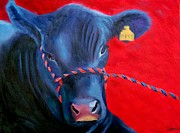 Angus Steer Painting Posters - Bovine Intervention Poster by Lisa Lea Bemish