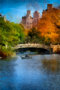 Rowboat Posters - Bow Bridge Central Park Poster by Amy Cicconi