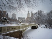 New York City Skyline Framed Prints - Bow Bridge Central Park in Winter  Framed Print by Vivienne Gucwa