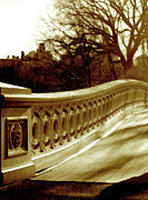 Bow Bridge Digital Art Prints - Bow Bridge Central Park New York Print by Rusty Schramm