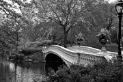 Christiane Schulze Framed Prints - Bow Bridge NYC In Black and White Framed Print by Christiane Schulze