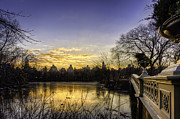 Central Park Digital Art Prints - Bow Bridge Sunrise Print by Jose Vazquez