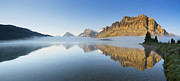 Reflection Of Rocks In Water Prints - Bow Lake Sunrise Print by Yves Gagnon