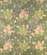 Pink Flowers Tapestries - Textiles Prints - Bower design Print by William Morris