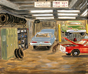Garage Paintings - Bowery Garage With Doberman by Arthur Robins