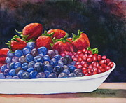 Blueberries Greeting Card Posters - Bowl of Berries Poster by Barbara Rosenzweig