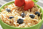 Granola Posters - Bowl of Cereal with Blueberries and Strawberries Poster by Brandon Bourdages