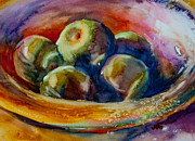 Jewel Tone Paintings - Bowl Of Grannies by Jani Freimann
