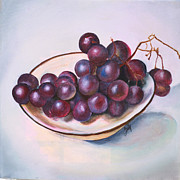 Bunch Of Grapes Posters - Bowl of Grapes Poster by Jane Autry