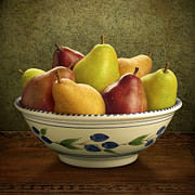 Bosc Framed Prints - Bowl of Mixed Pears Framed Print by Danny Smythe