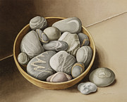 Signed Prints - Bowl of Pebbles Print by Jenny Barron