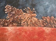 Pine Cones Paintings - Bowl of Pinecones by Saundra Lane Galloway