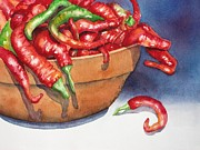 Hot Peppers Painting Originals - Bowl of Red Hot Chili Peppers by Lyn DeLano