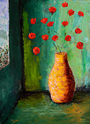 Pallet Knife Painting Originals - Bowl of Red Poppies by Bill Unger