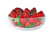 Menu Prints - Bowl of Strawberries Print by Kaye Menner
