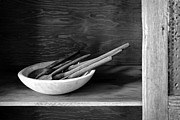 Metal Shelves Framed Prints - Bowl with Spoons 2 Framed Print by Nikolyn McDonald