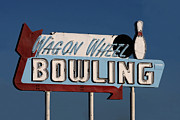 Advertisements Prints - Bowling Sign Print by Art Blocks