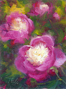 Impressionistic Oil Paintings - Bowls of Beauty - Alaskan peonies by Talya Johnson
