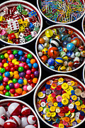 Sewing Supplies Posters - Bowls of buttons and marbles Poster by Garry Gay
