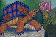 Mexico Pastels Posters - Box Turtle Poster by Tracy L Teeter