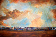 Trains Painting Prints - Boxcar Blues Print by Laura Sue