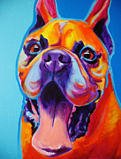 Boxer Puppy Painting Framed Prints - Boxer - Tyson Framed Print by Alicia VanNoy Call