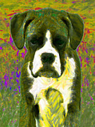 Boxer Puppy Digital Art Posters - Boxer 20130126v2 Poster by Wingsdomain Art and Photography