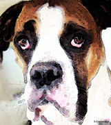 Dogs Digital Art Metal Prints - Boxer Art - Sad Eyes Metal Print by Sharon Cummings