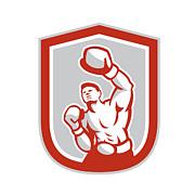 Boxer Boxing Punching Jabbing Circle Retro Print by Aloysius Patrimonio