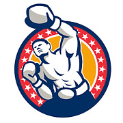 Boxer Boxing Punching Jabbing Retro Print by Aloysius Patrimonio