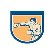 Boxer Boxing Punching Shield Cartoon Print by Aloysius Patrimonio