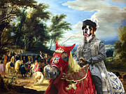 Boxer Paintings - Boxer Dog Art - Philippe Francois Arenberg meeting Troops by Sandra Sij