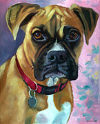 Boxer Puppy Painting Framed Prints - Boxer Dog Portrait Framed Print by Lyn Cook