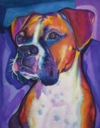 Boxer Art Paintings - Boxer Dog Portrait by Robyn Saunders