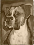 Realistic Mixed Media Prints - Boxer Dog Sepia Print Print by Robyn Saunders
