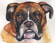 Boxer Portrait Paintings - Boxer Dog watercolor by Marias Watercolor