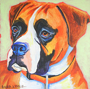 Boxer Painting Prints - Boxer face Print by Laura Bolle