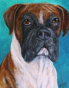 Working Dogs Originals - Boxer Fawn Dog painting by Barb Yates