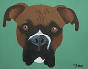 Boxer Painting Prints - Boxer Print by Janaye Book