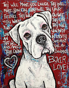 Boxer Dog Digital Art Metal Prints - Boxer Love Metal Print by Stephanie Gerace
