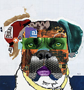 Dog Pet Portraits Mixed Media Posters - Boxer  Poster by Michel  Keck