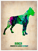 Boxer Puppy Digital Art Metal Prints - Boxer Poster Metal Print by Irina  March