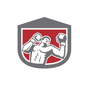 Boxer Punching Boxing Shield Retro Print by Aloysius Patrimonio