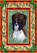 Boxer Puppy Paintings - Boxer Puppy Dog Christmas by Olde Time  Mercantile
